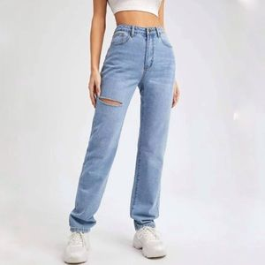 High Waisted Straight Leg Jeans with Rip